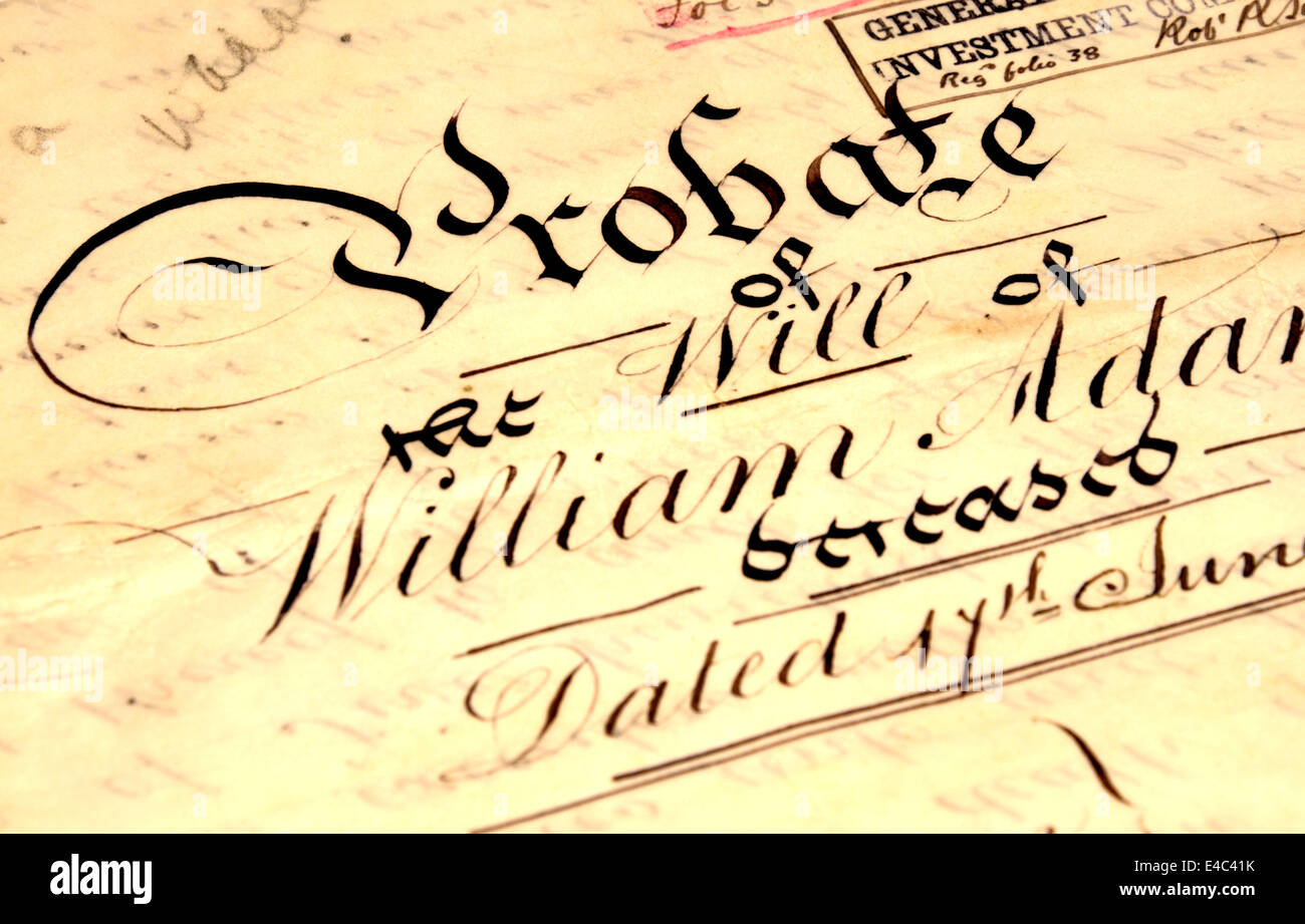 Old Probate of the Will of William Adams, 1898, hand-written on vellum - Stock Image