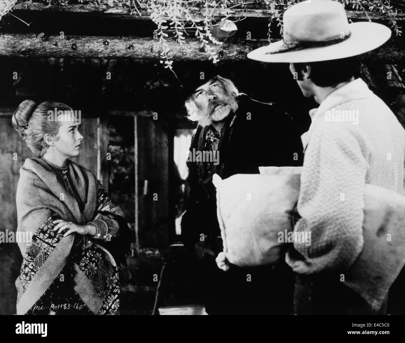 Jean Seberg, Lee Marvin, Clint Eastwood, on-set of the Film, 'Paint Your Wagon', 1969 - Stock Image