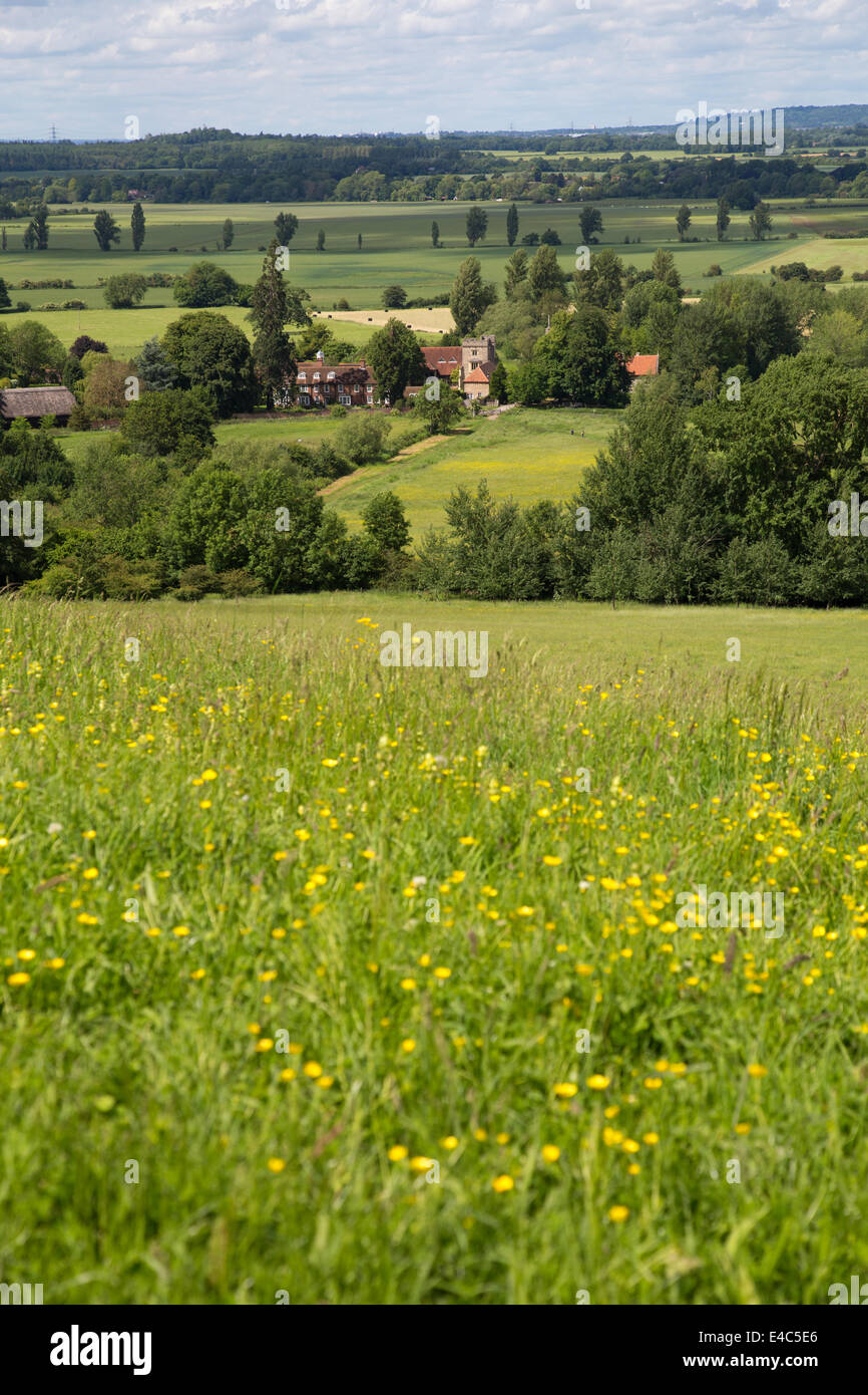 View of Little Wittenham from the Wittenham Clumps, Oxfordshire - Stock Image