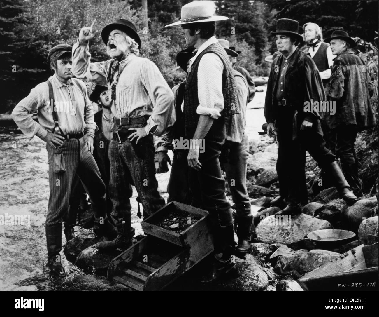 Lee Marvin (2nd Left), Clint Eastwood (3rd left), on-set of the Film, 'Paint Your Wagon', 1969 - Stock Image