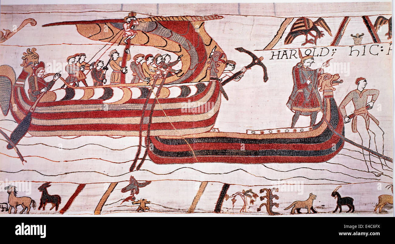 William the Conqueror Sails against England, 1066, The Bayeux Tapestry Stock Photo