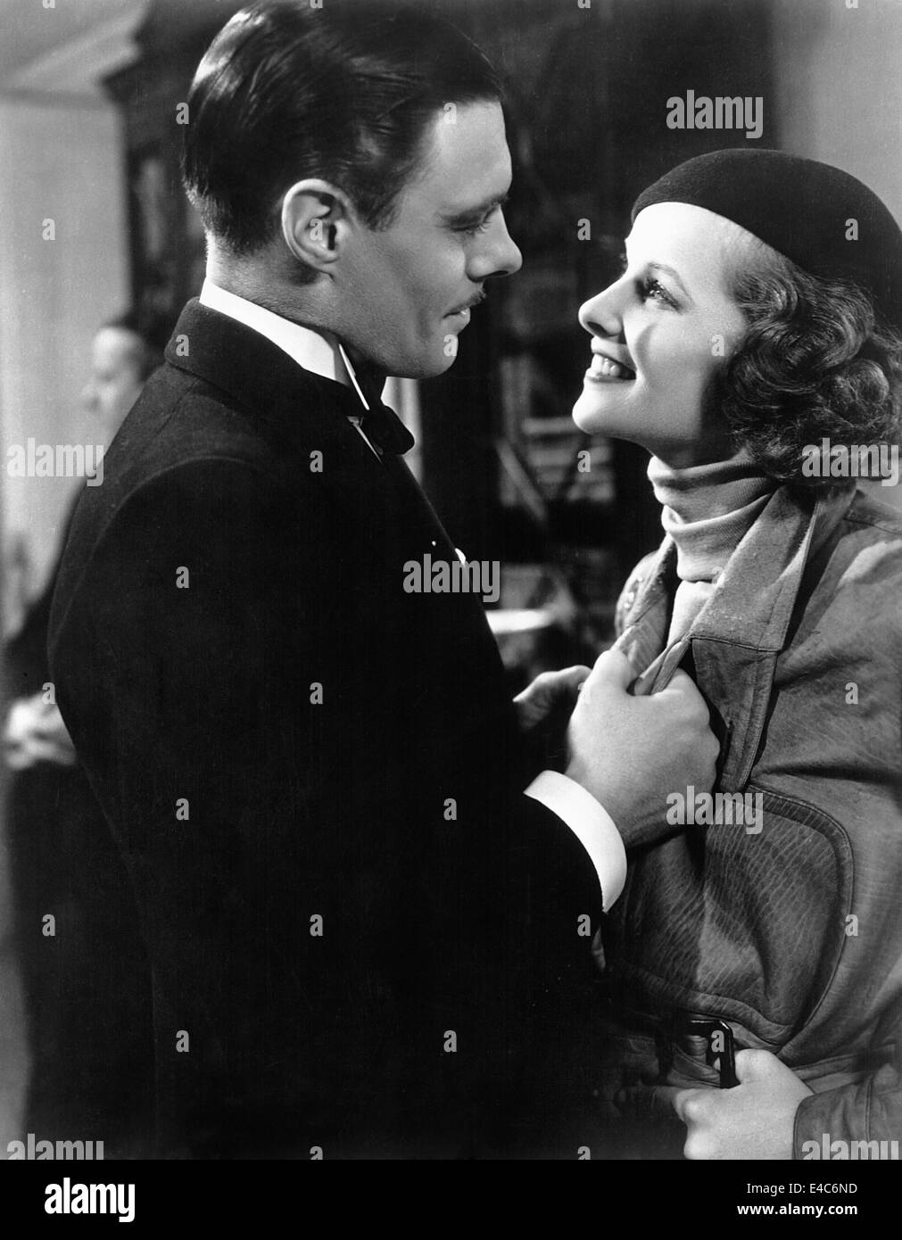 Colin Clive, Katharine Hepburn, on-set of the Film, 'Christopher Strong', 1933 - Stock Image