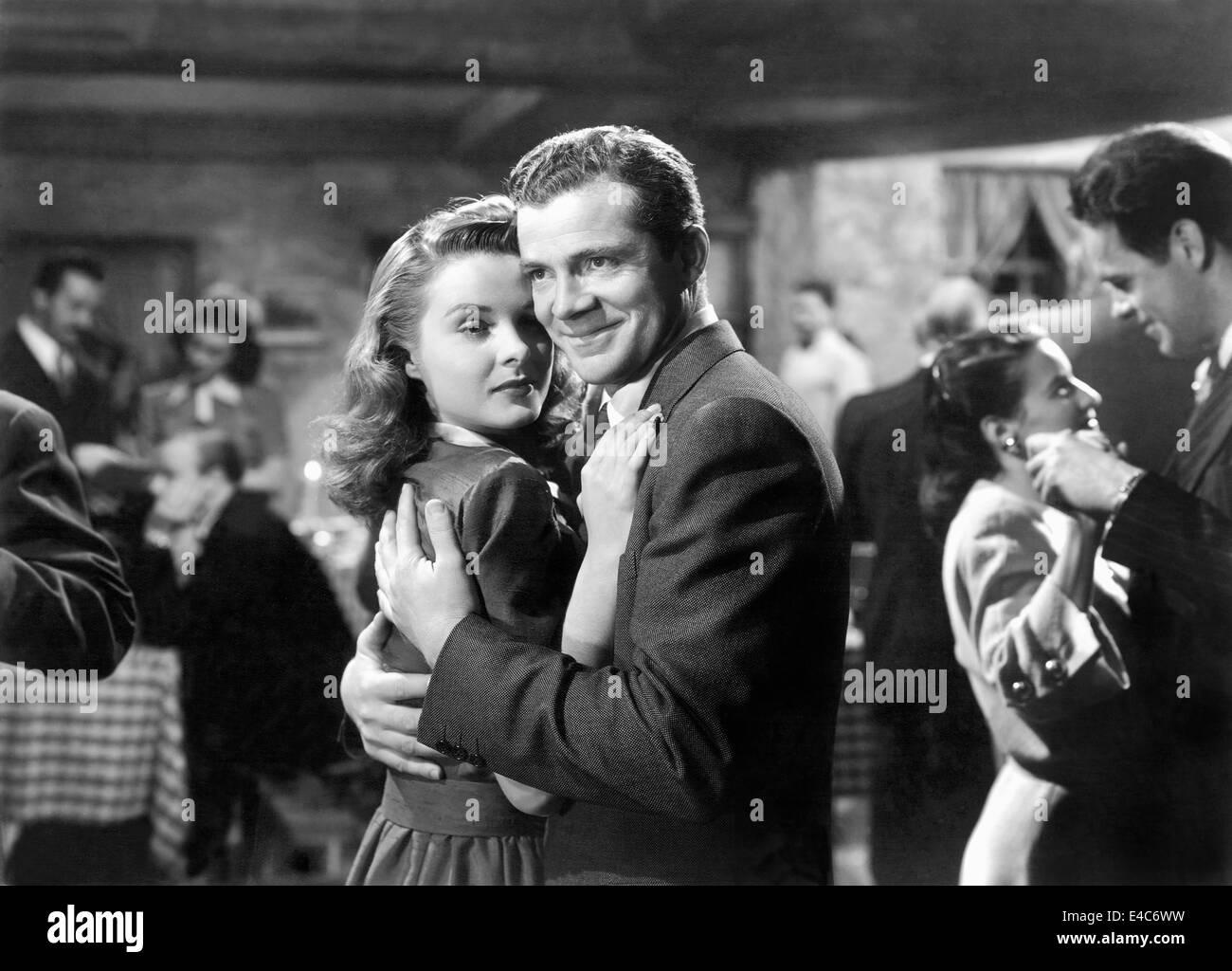 Jean Peters, Dana Andrews, on-set of the Film, 'Deep Waters', 1948 - Stock Image