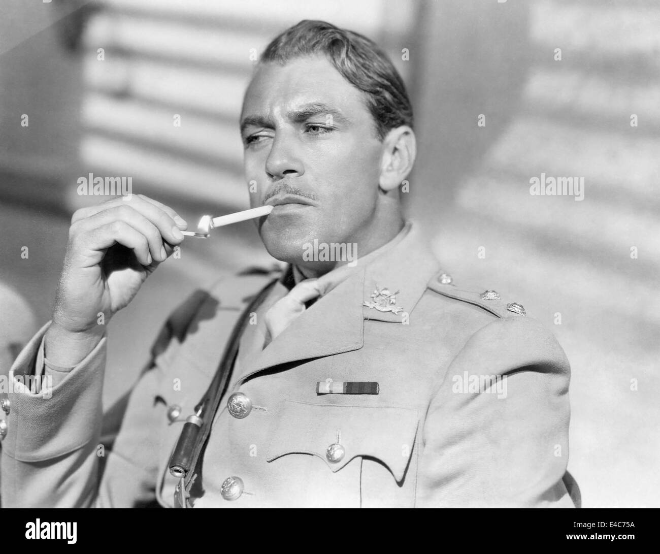 Gary Cooper, on-set of the Film, 'Lives of a Bengal Lancer', 1935 - Stock Image