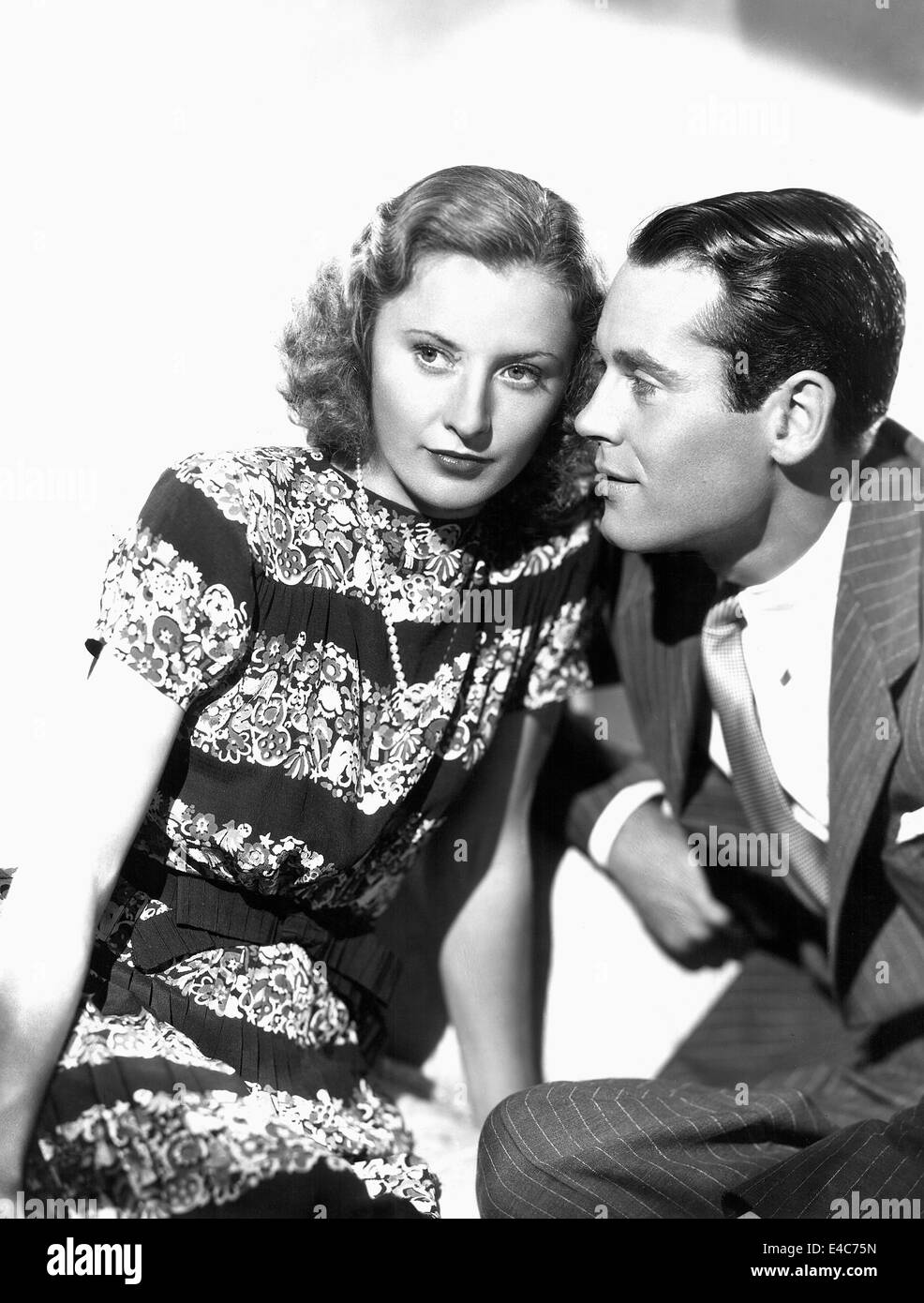 Barbara Stanwyck, Henry Fonda, on-set of the Film, 'The Mad Miss Manton', 1938 - Stock Image
