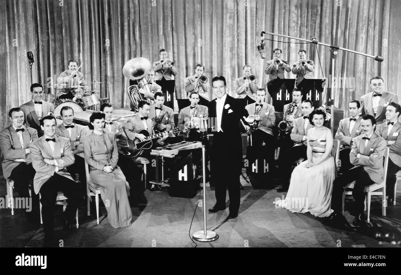 Horace Heidt (center) and His Musical Knights, Mimi Cabanne (Right), circa 1940's - Stock Image