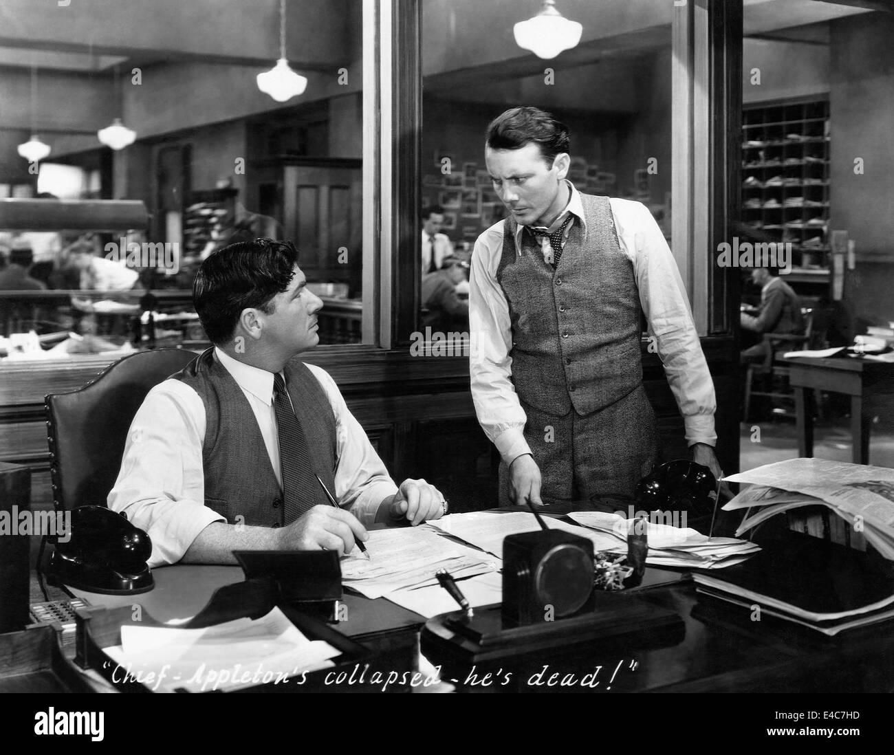 George Bancroft (Left), on-set of the Film, 'Scandal Sheet', 1931 - Stock Image
