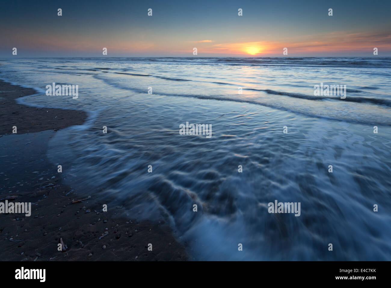 sunset over North sea, Zandvoort aan Zee, North Holland - Stock Image