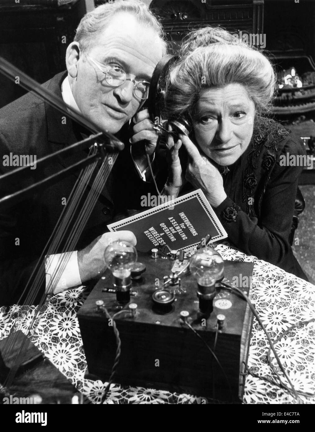 Gordon Jackson, Angela Baddeley, on-set of the British TV Series, 'Upstairs, Downstairs', 1970's - Stock Image