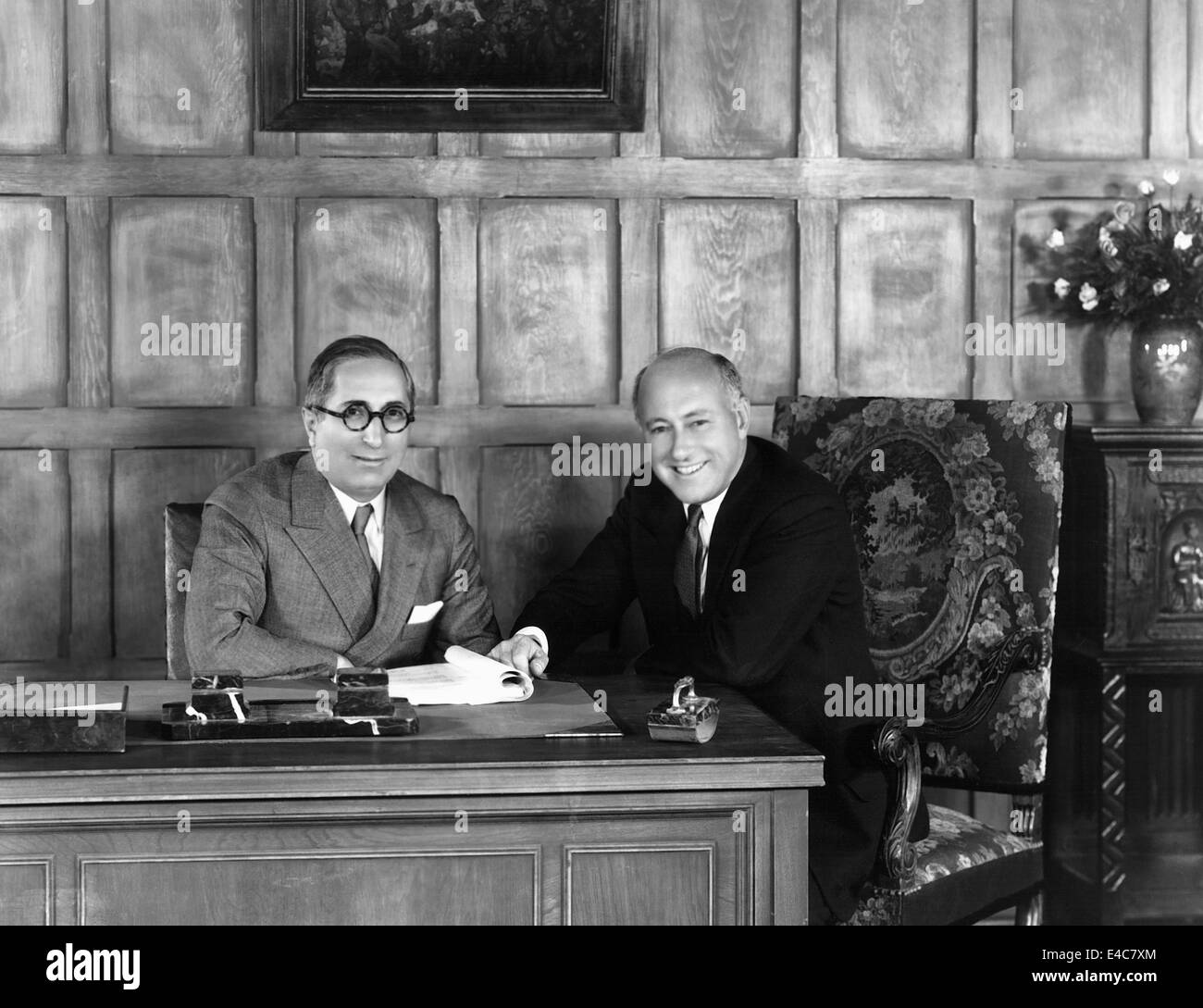 Louis B. Mayer, American Film Producer, and Cecil B. DeMille, American Film Director, Portrait, circa 1930 - Stock Image