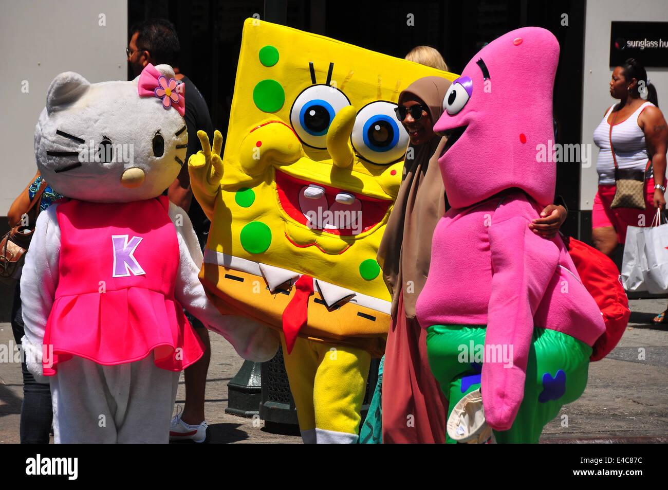 new york ny cartoon characters sponge bob hello kitty and pink