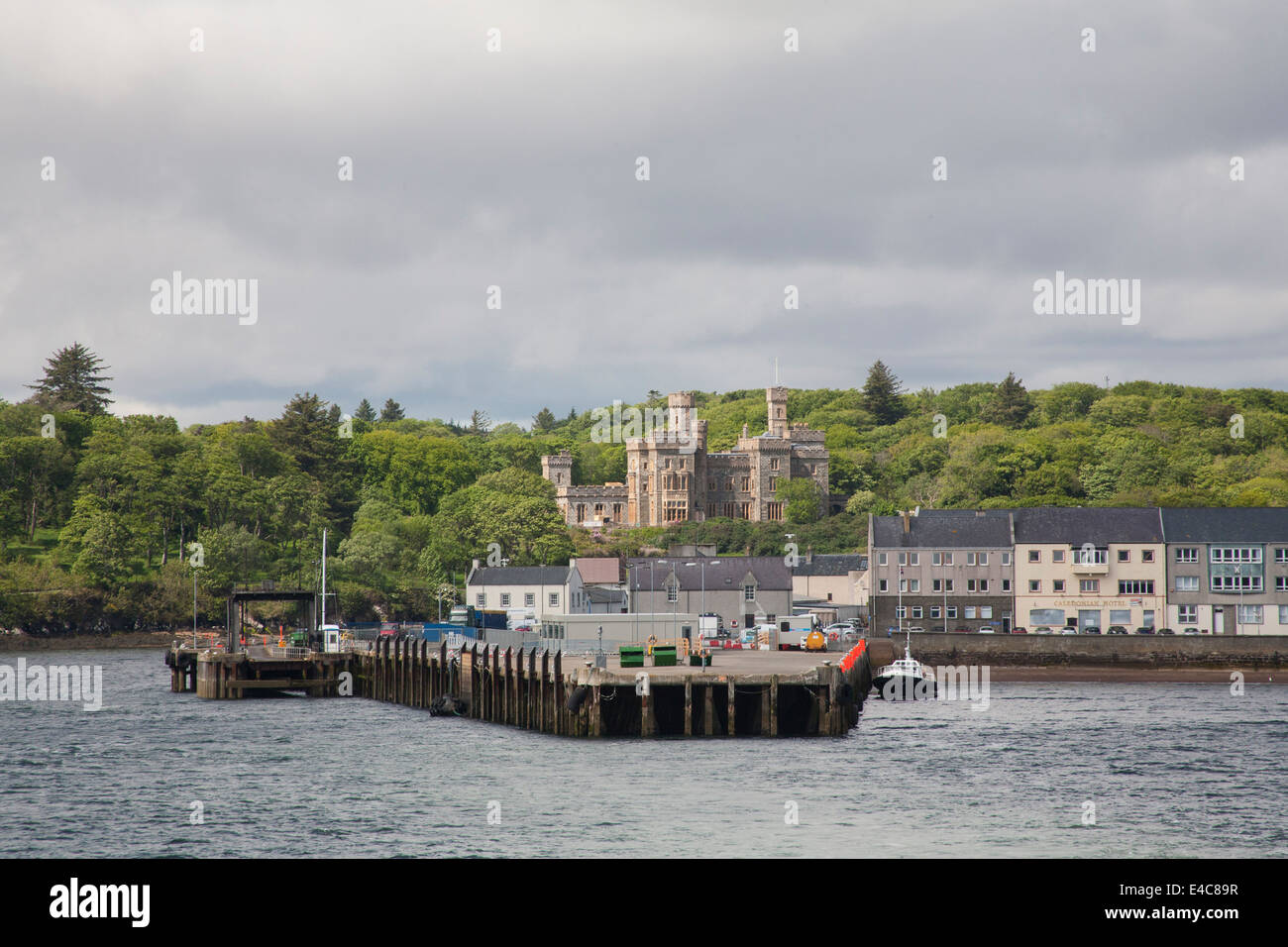 View back to port with Lews Castle in background from departing ferry Stornoway Isle of Lewis - Stock Image