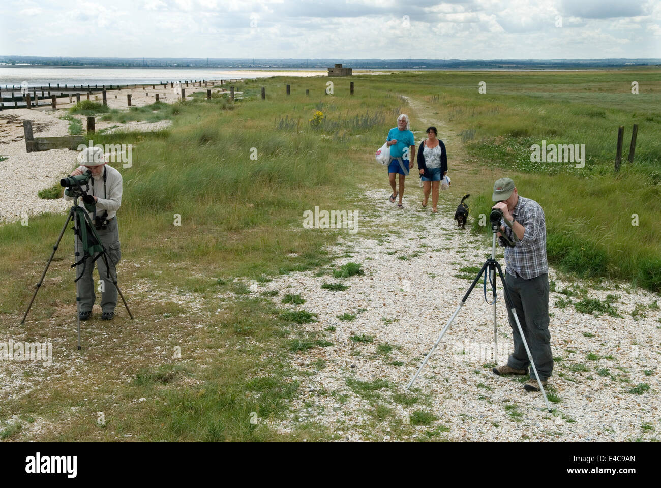 Shellness point, twitchers, bird watchers,  and holidaymakers near Leysdown. Isle of Sheppey Kent UK. HOMER SYKES - Stock Image