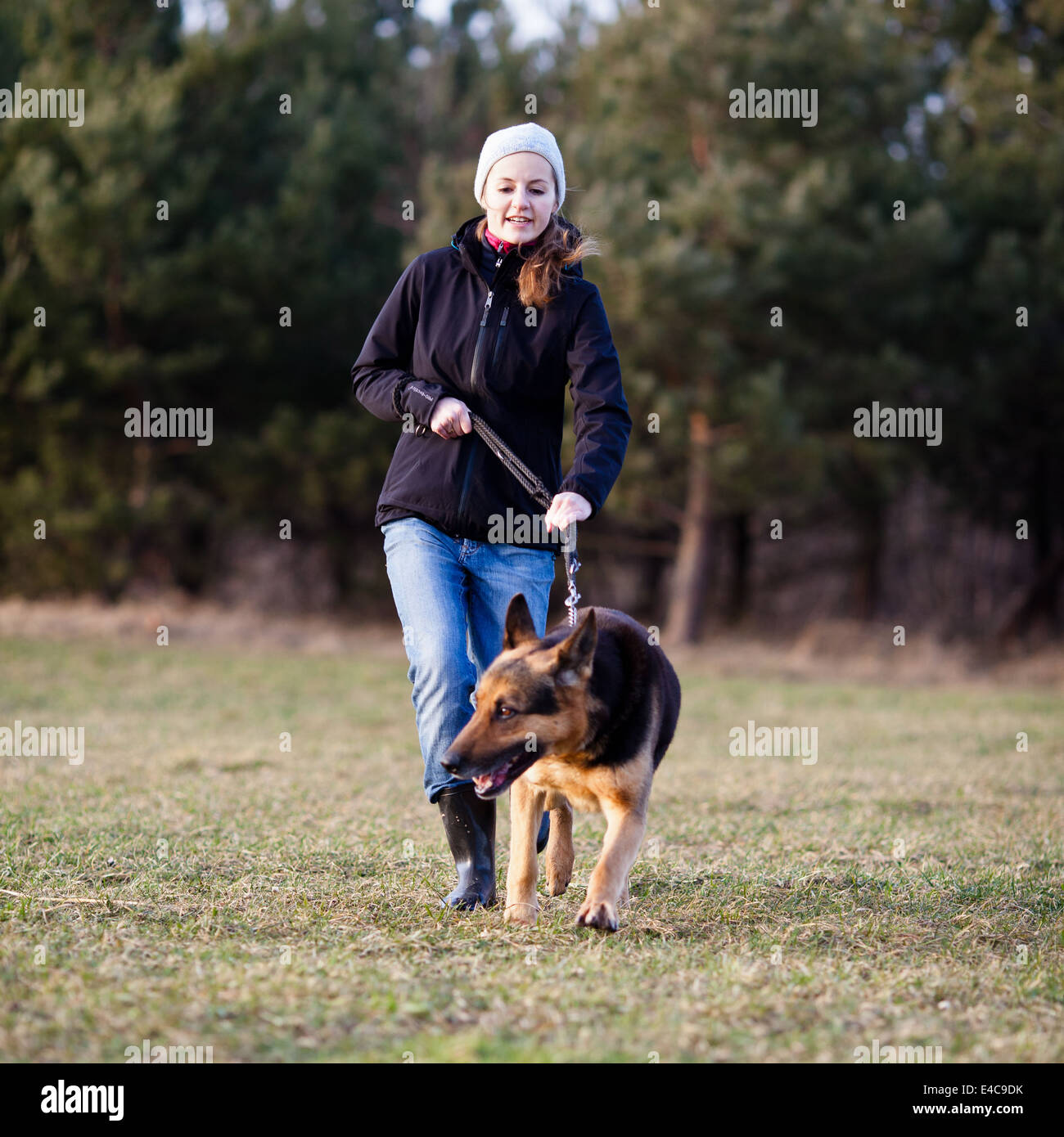 Master and her disobedient (German shepherd) dog - Stock Image