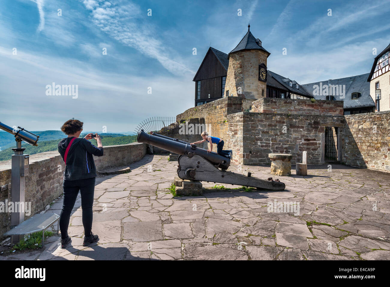 Terrace at Schloss Waldeck, medieval castle in Waldeck, Hessen, Germany - Stock Image