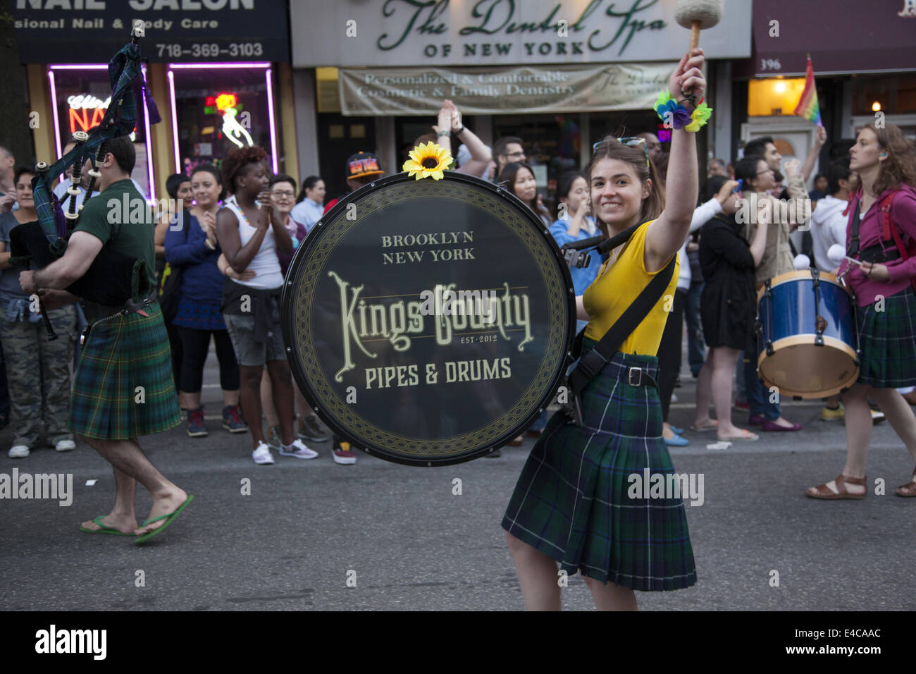 Kings County Pipes and Drums march in the Gay Pride Parade along 5th Ave. in the Park SLope neighborhood, Brooklyn, Stock Photo