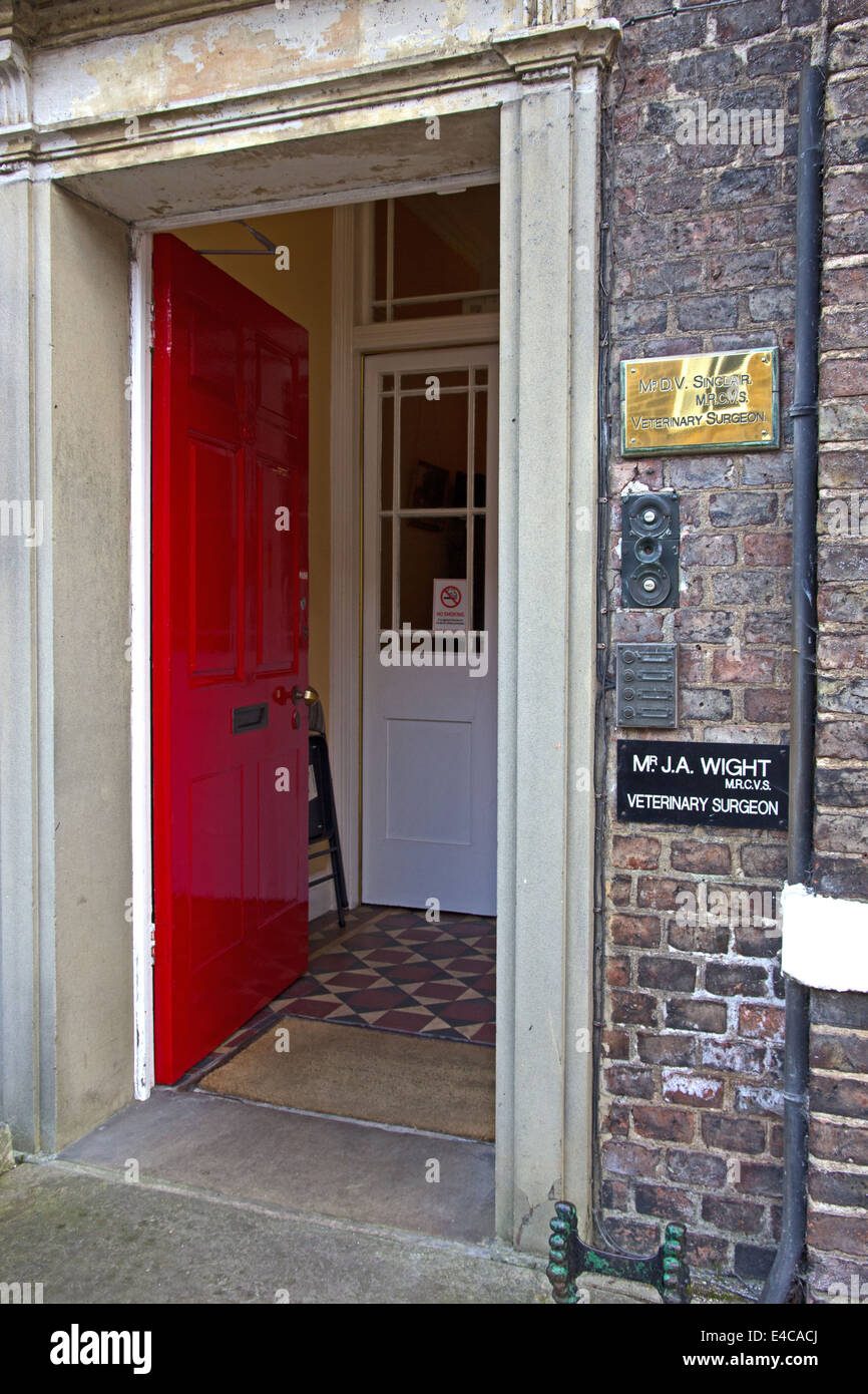 Entrance to Veterinary surgery of Jim Wight, author of James Herriot books, Thirsk, North Yorkshire - Stock Image