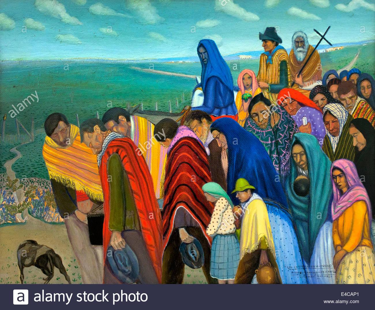 Un entierro en mi pueblo 1920 A funeral in my village1920 Gramajo Alfredo Gutiérrez 1893 - 1961 painter Argentine - Stock Image