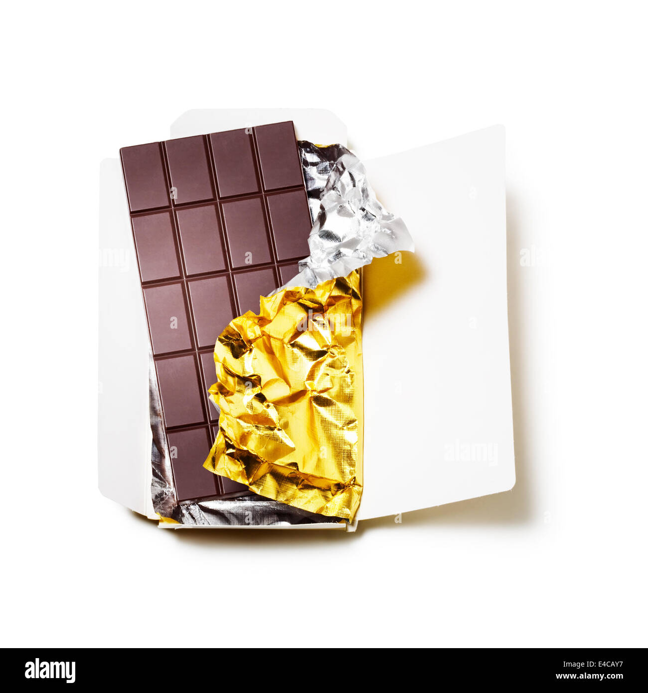 Chocolate bar wrapped in foil with open cardboard on white background Stock Photo