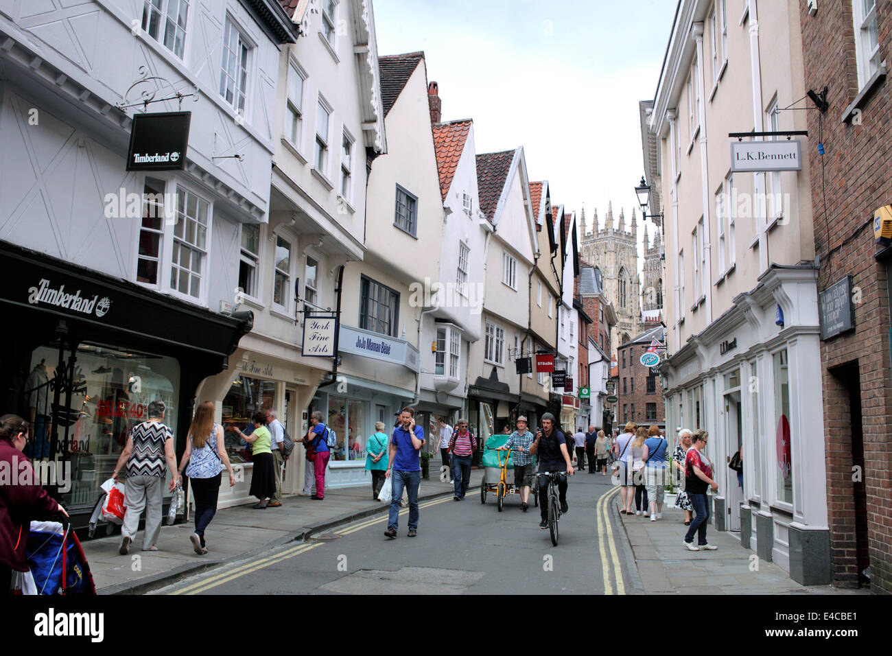 Low Petergate, York city centre. York Minister in background. - Stock Image