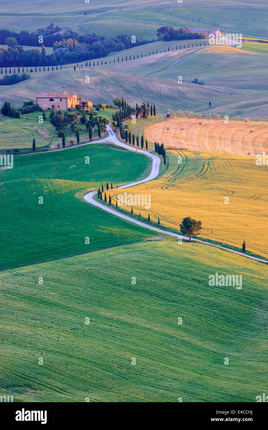 In the heart of Tuscany, in the countryside of the Val d'Orcia, close to Pienza stands Agriturismo Podere Terrapille - Stock Image