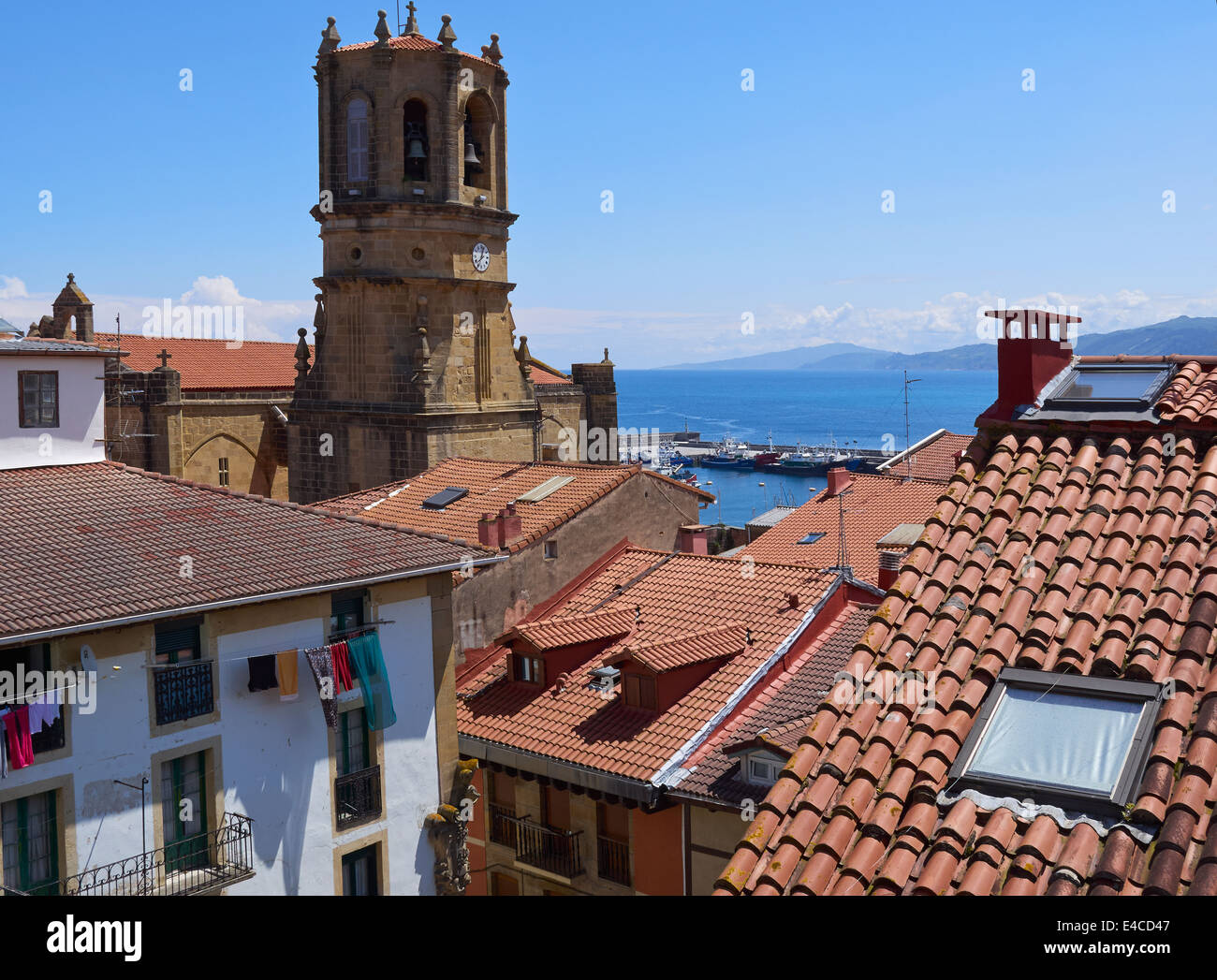 Getaria, Gipuzkoa, Basque Country, Spain. Tiled roofs of the houses of the historic fishing village. - Stock Image