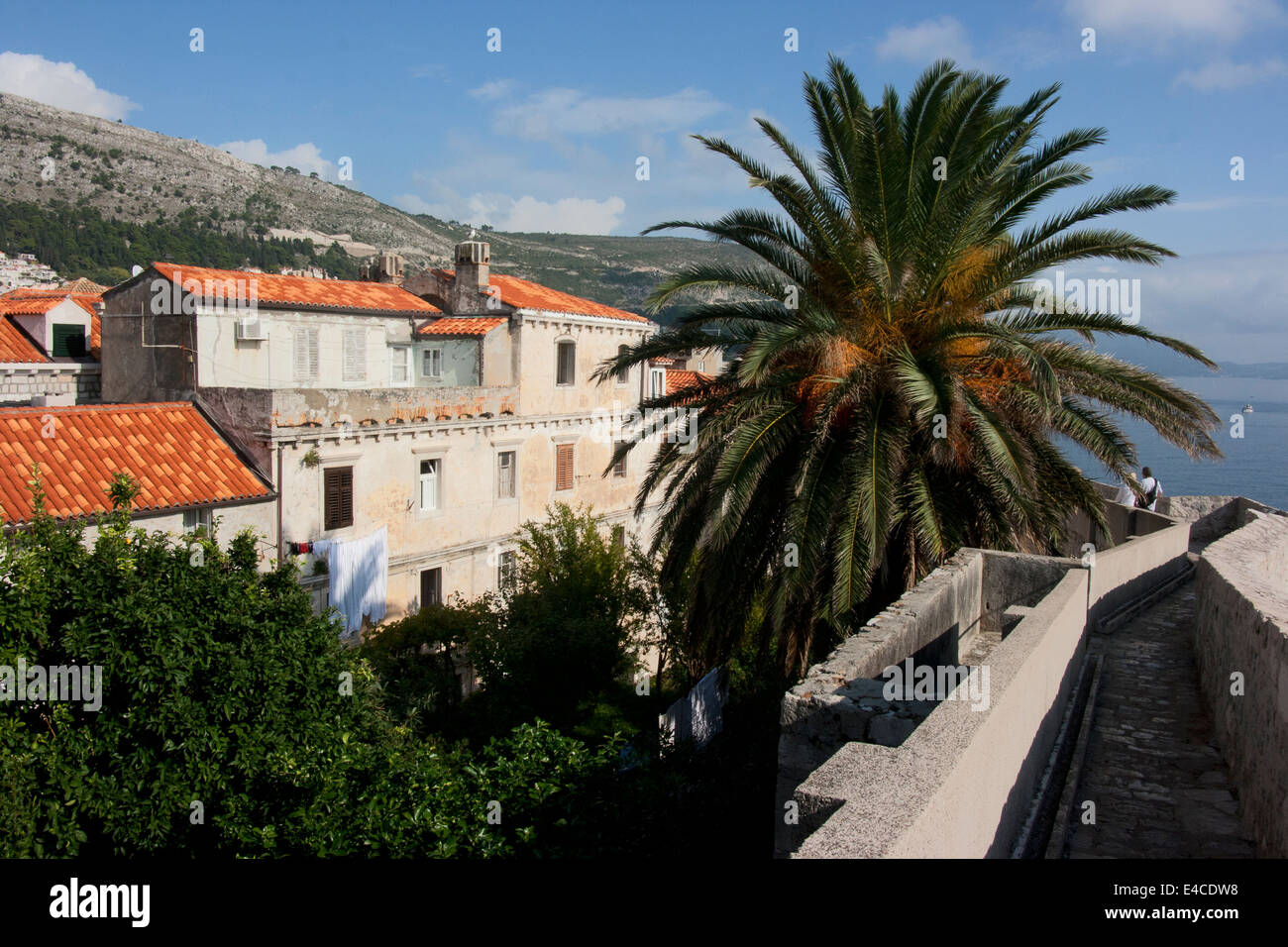 View from top of old city wall, Dubrovnik, Croatia Stock Photo