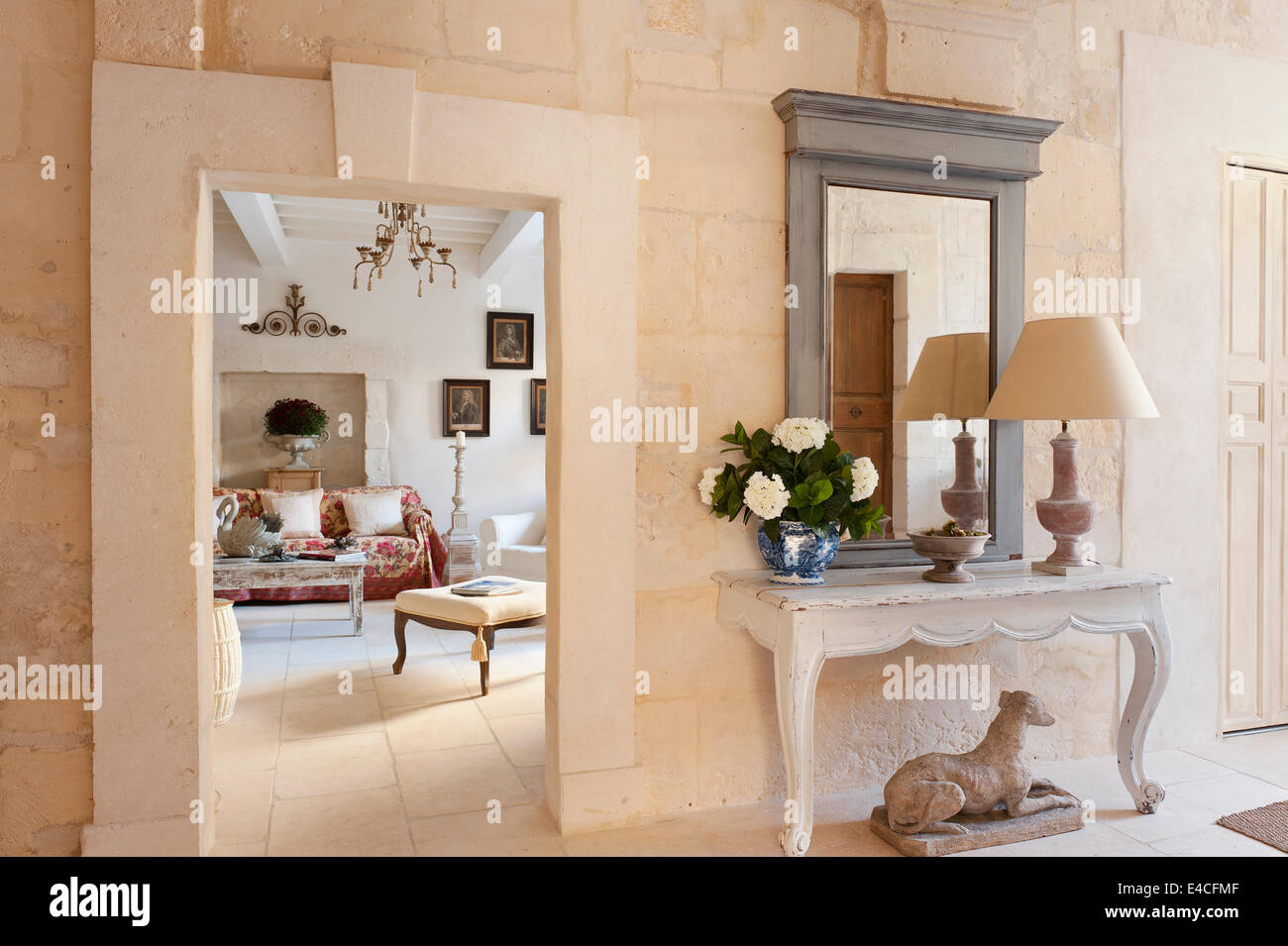 Entrance Hall With Antique Two Legged Wooden Console Table And View