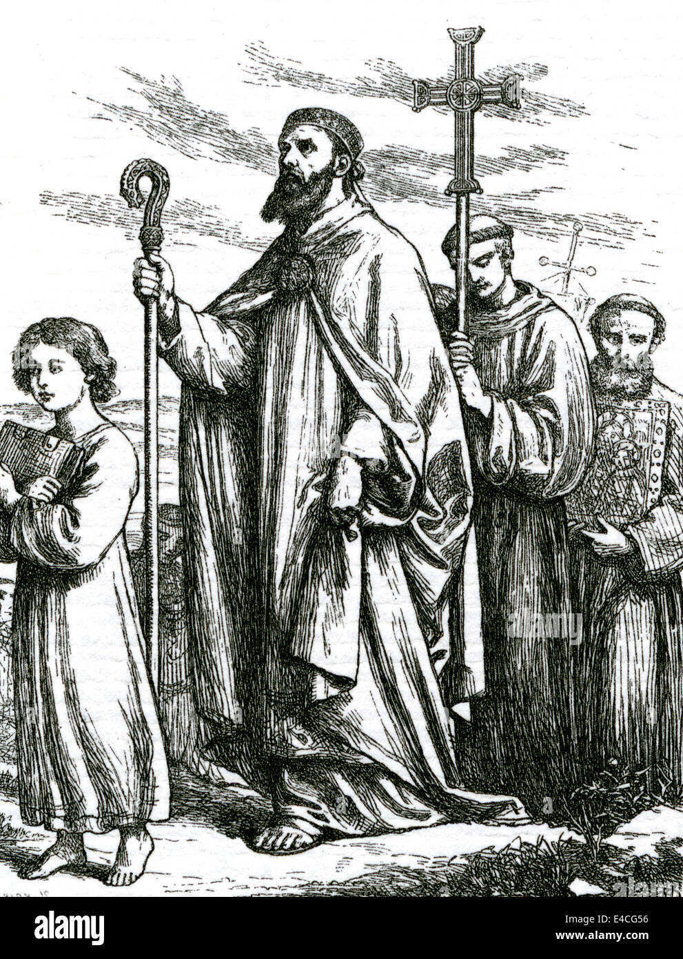ST PETER arriving at Tara in a Victorian engraving - Stock Image