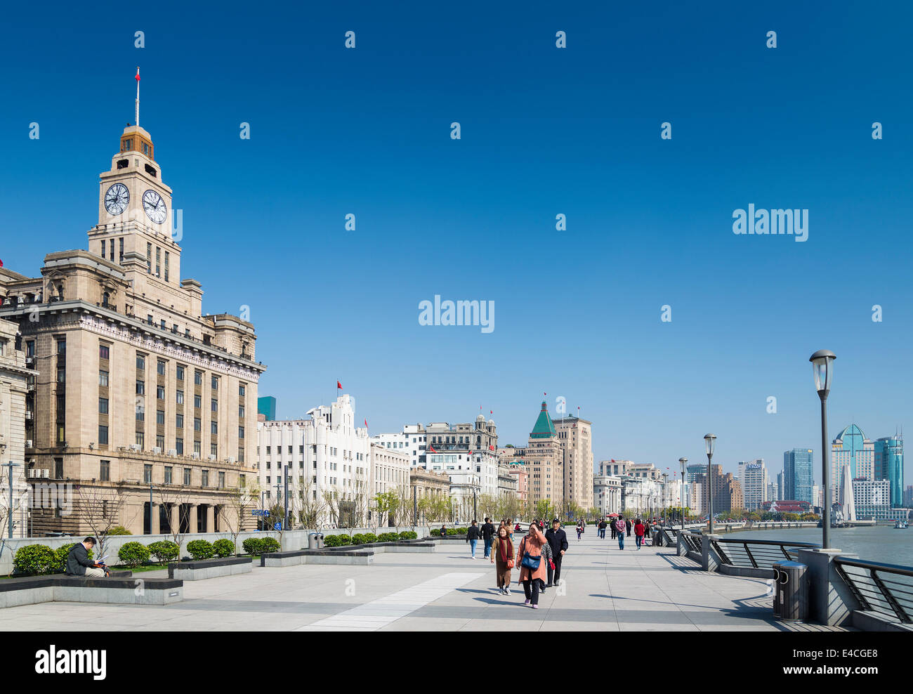 the bund riverside in shanghai china - Stock Image