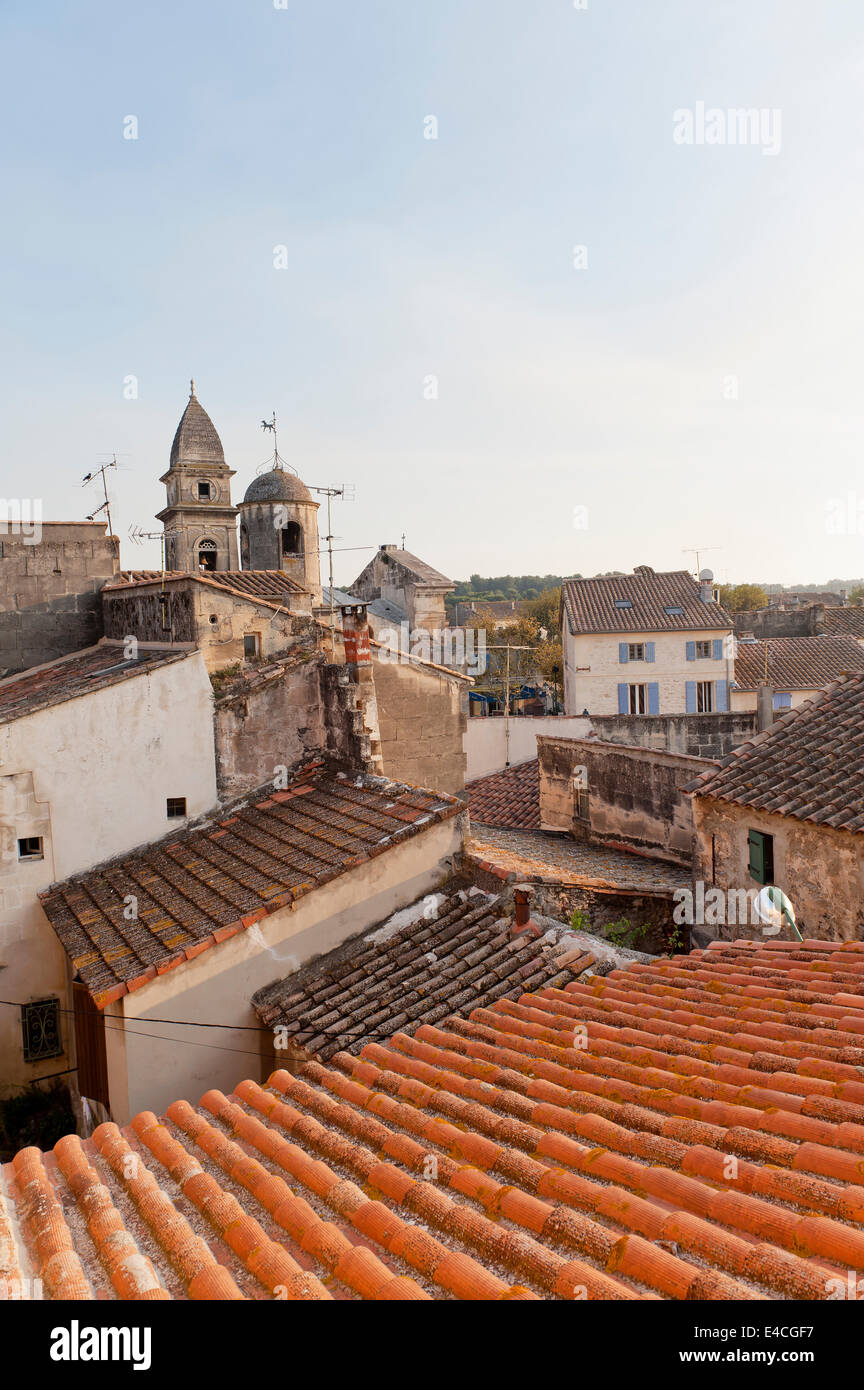 View over the rooftops in the Provencal village Fontvieilles - Stock Image