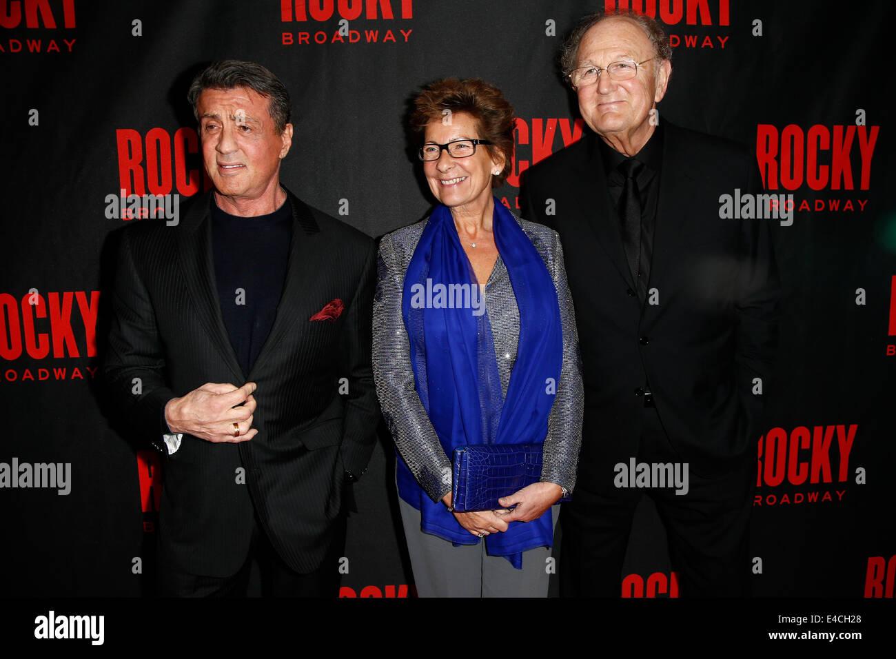 (L-R) Actor Sylvester Stallone, Janine Van Den Ende and producer Joop Van Den Ende attend the 'Rocky' Broadway - Stock Image