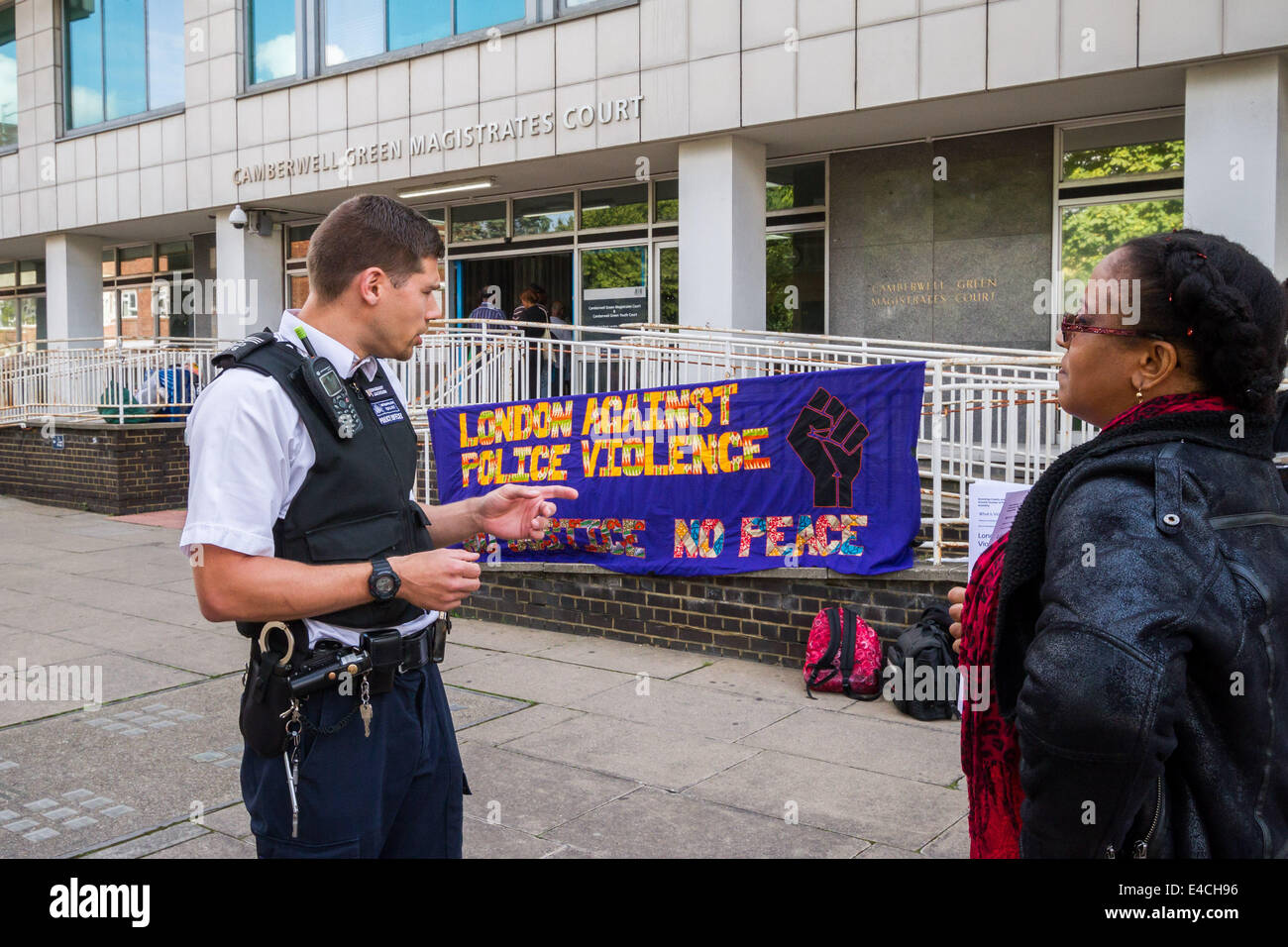 London, UK. 8th July 2014. Protest against Police brutality at Camberwell Green Magistrates Court in London Credit: - Stock Image