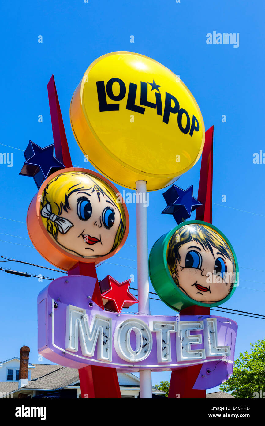 Colorful sign outside the Lollipop Motel, North Wildwood, New Jersey, USA - Stock Image