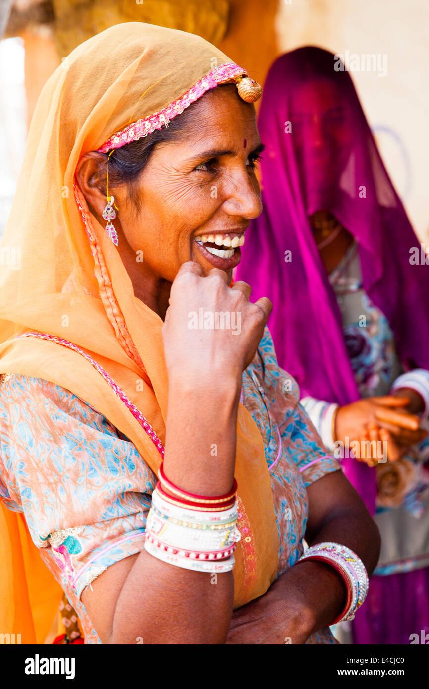 Bishnoi tribeswoman laughing, Jodhpur, Rajasthan, India - Stock Image