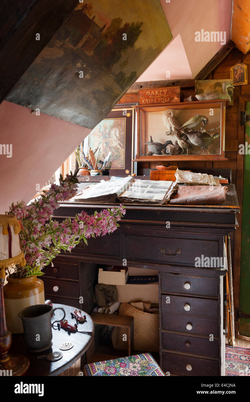 A taxidermy display case hangs on wall above a Victorian estate desk - Stock Image