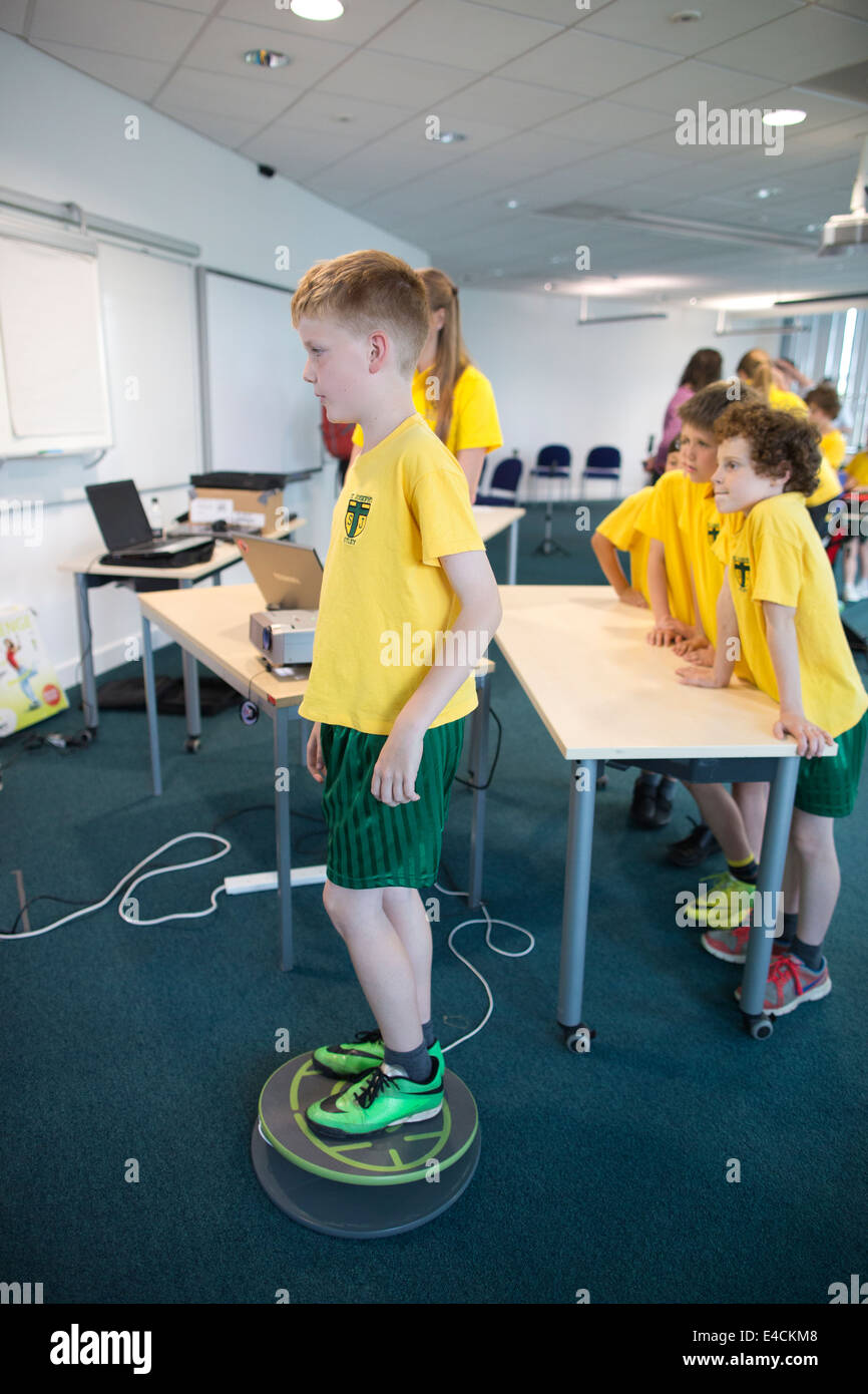Children from Otley St Joseph's Primary School taking part in activities supported by sports scientists working - Stock Image