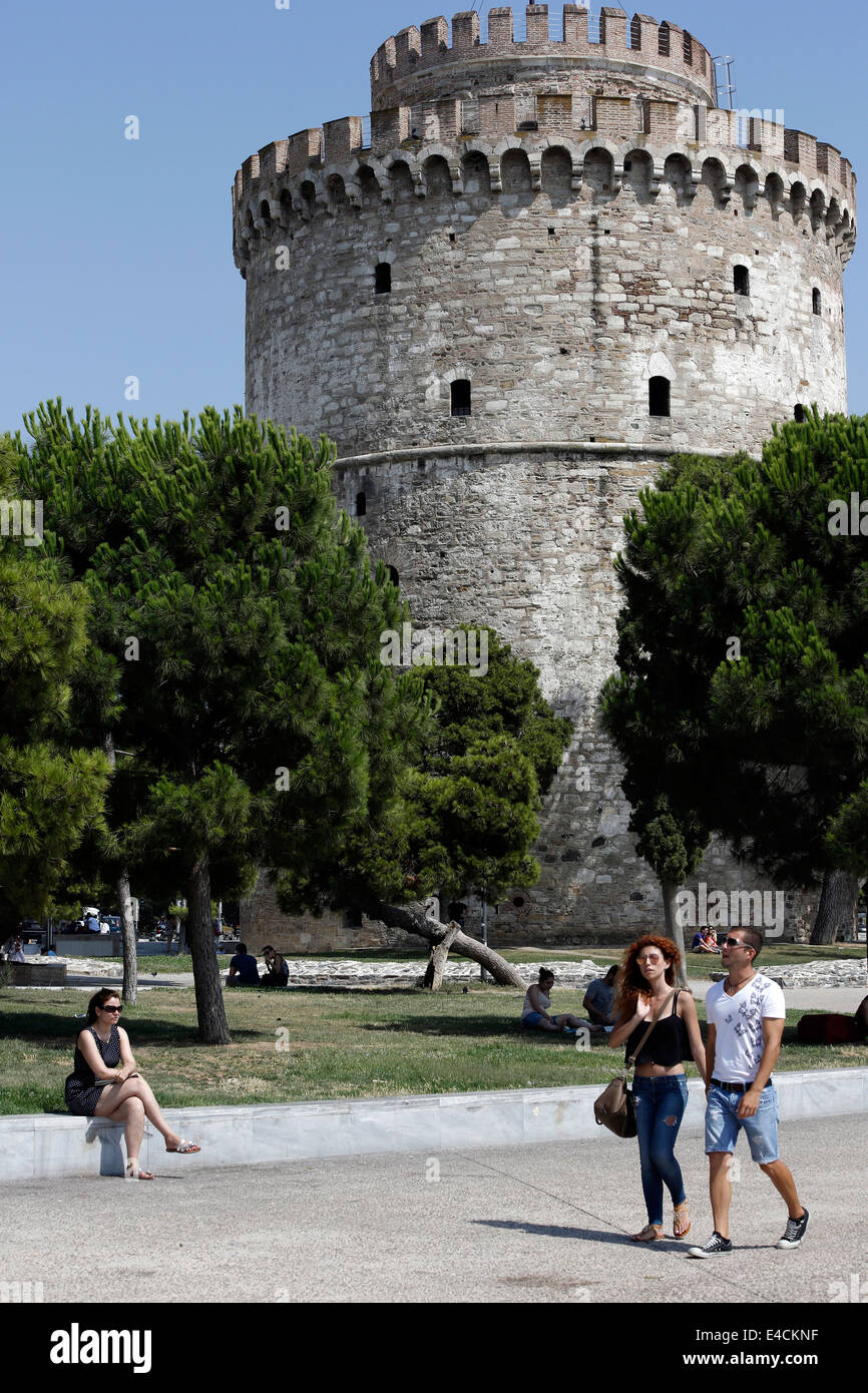The  landmark of Thessaloniki, the White Tower. Northern Greece - Stock Image