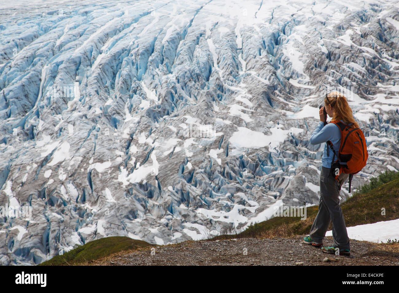 Hiker on Harding Icefield Trail along Exit Glacier Kenai Fjords