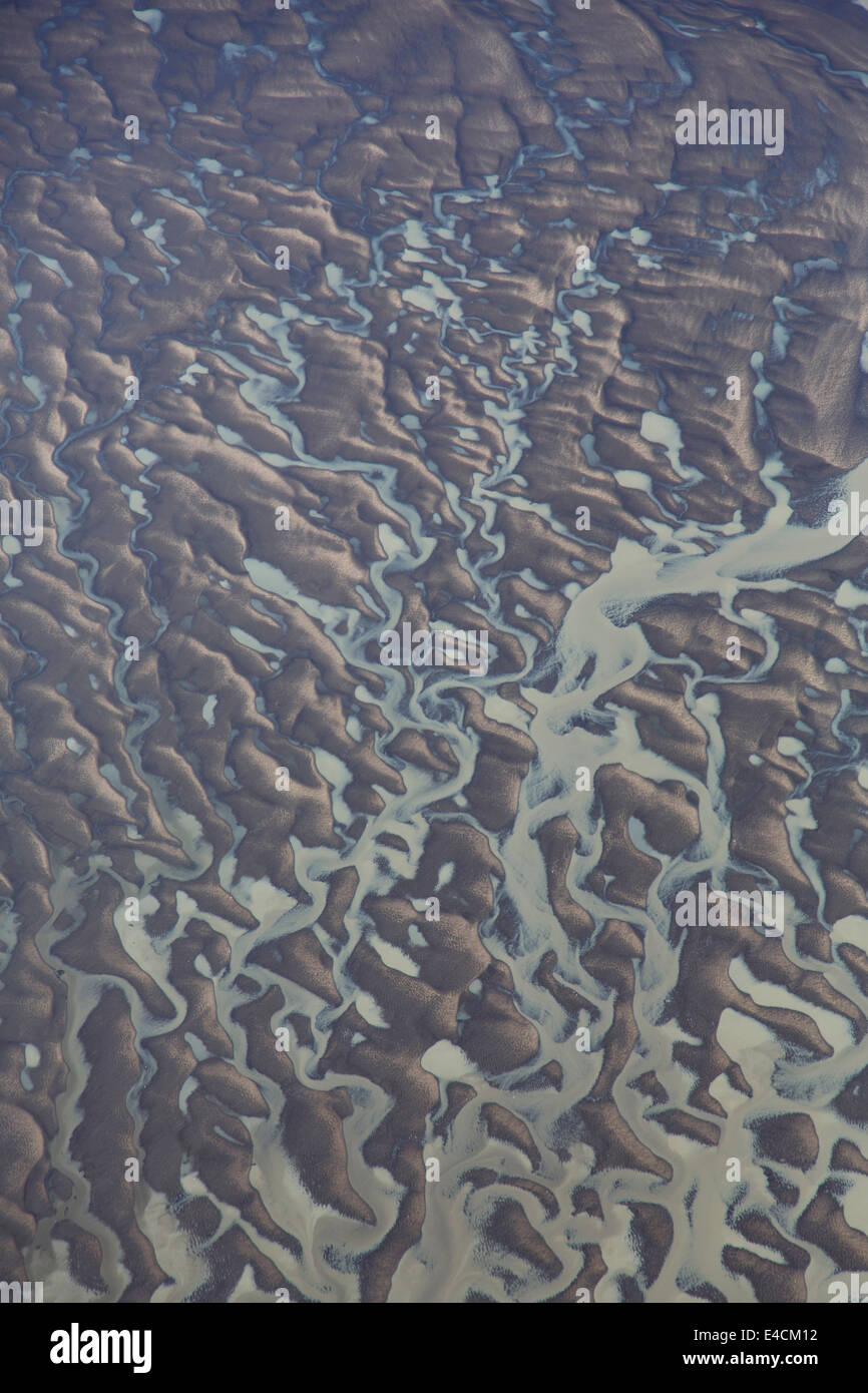 Patterns on shoreline along Cook Inlet, Alaska. - Stock Image