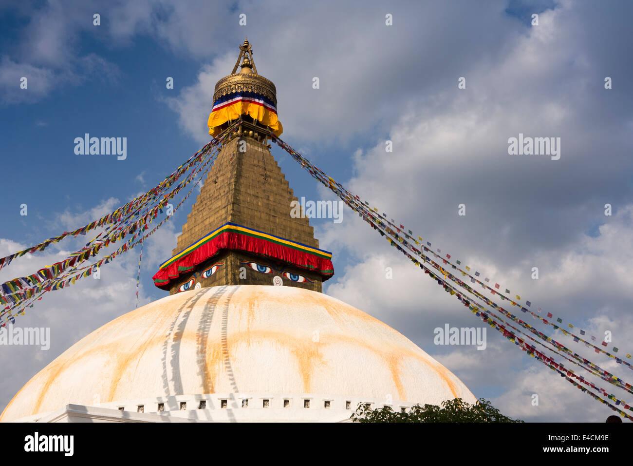 Nepal, Kathmandu, Boudhanath, stupa dome and all seeing Buddha eyes - Stock Image