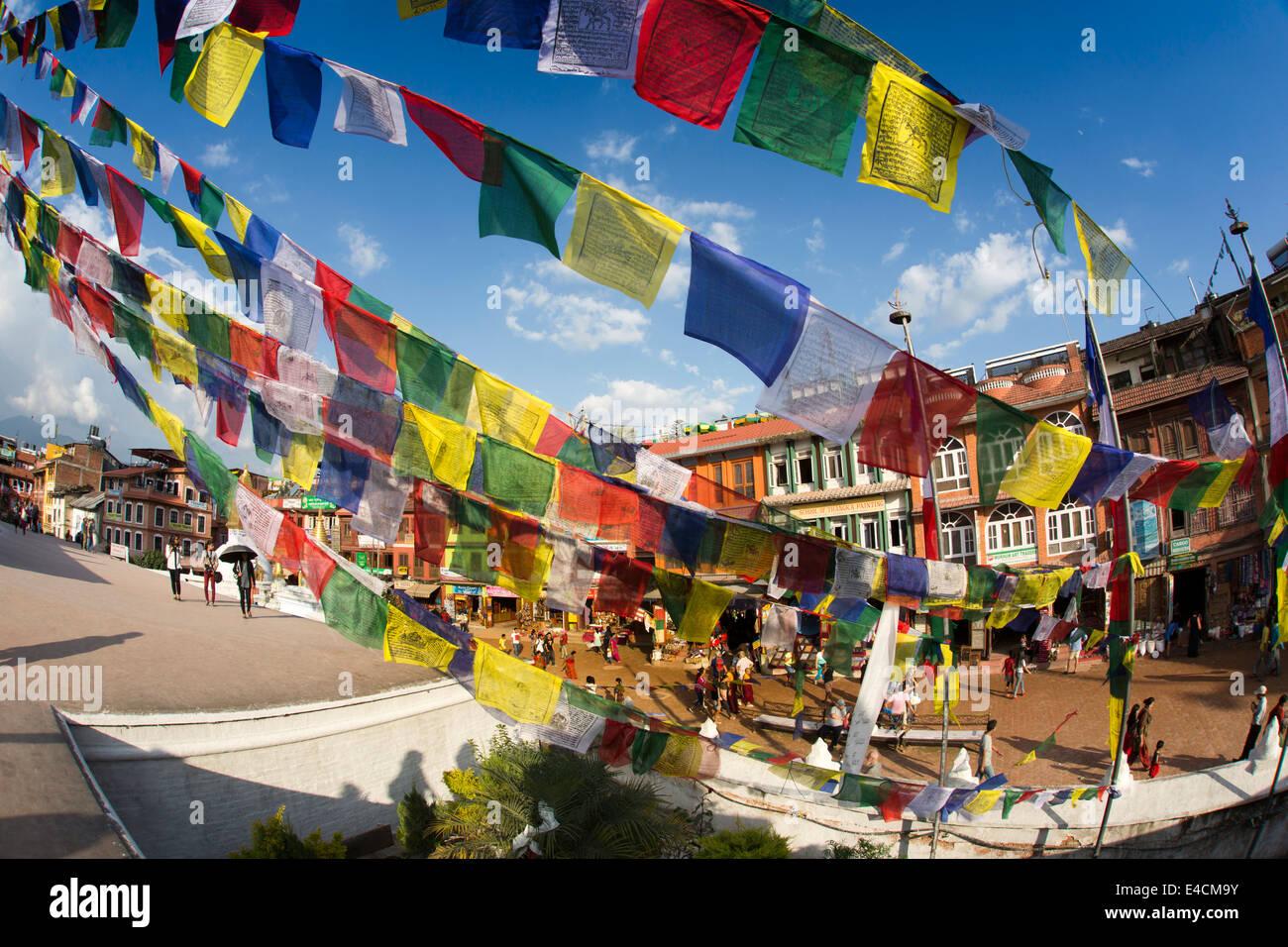 Nepal, Kathmandu, Boudhanath, stupa colourful prayer flags - Stock Image