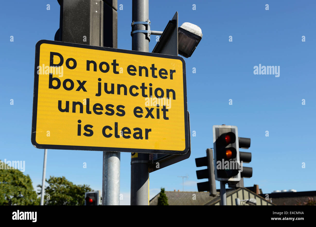 Do not enter box unless exit is clear sign - Stock Image