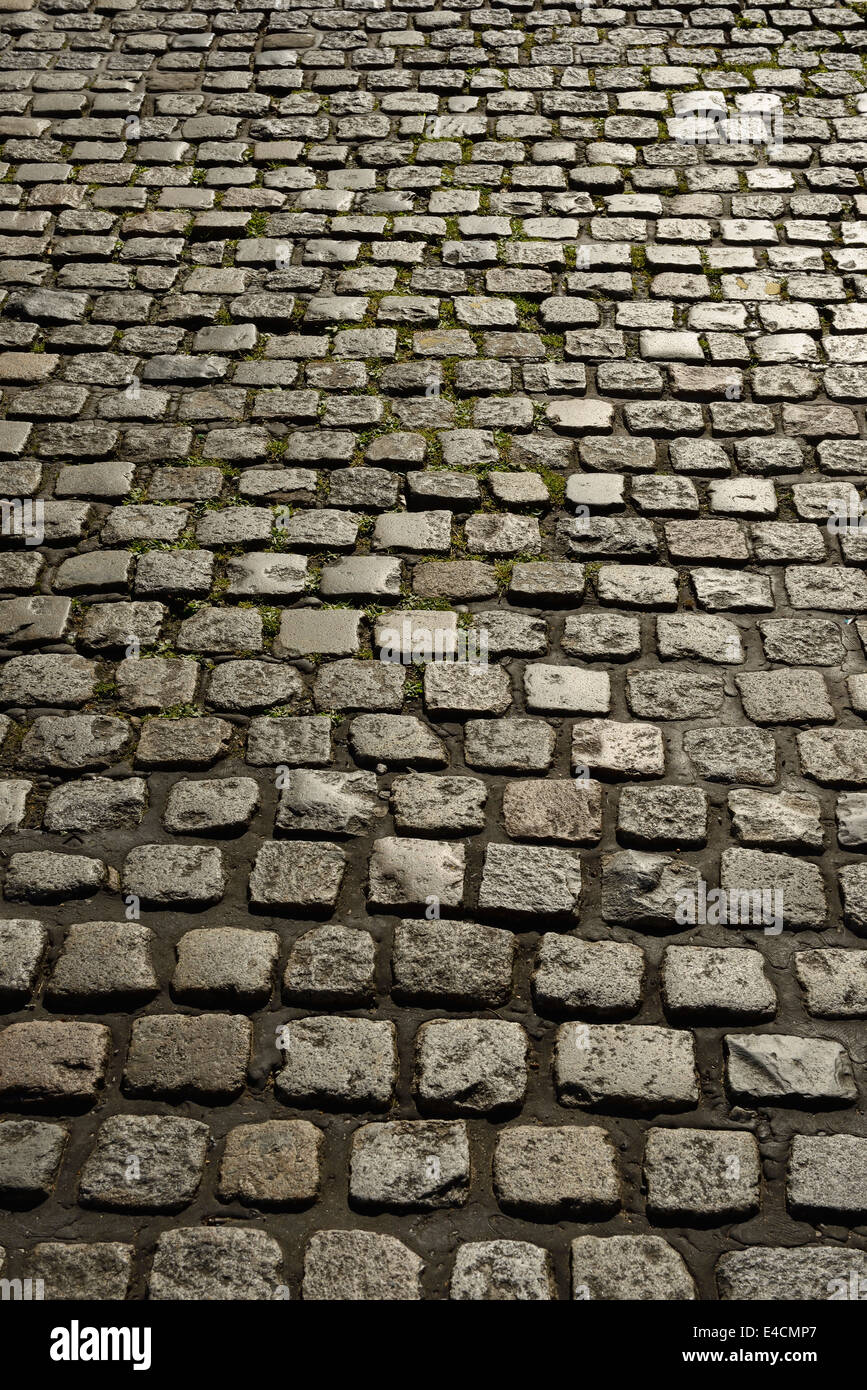 Abstract detail of a UK cobbled street - Stock Image