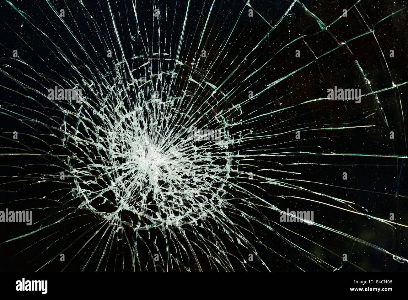 Shattered pane of glass - Stock Image