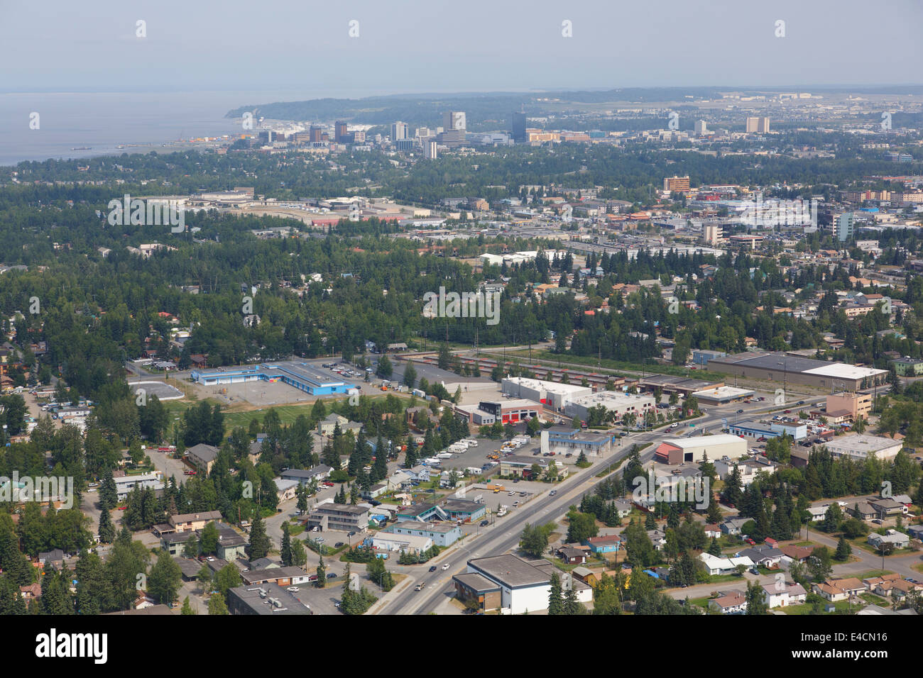 Aerial Anchorage, Alaska. - Stock Image