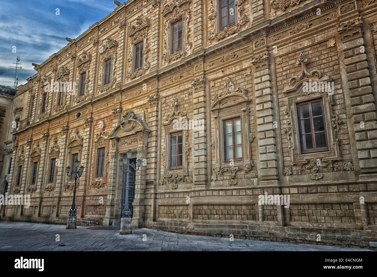 The Palace of the Province in the old town of Lecce in the southern of Italy: built in 1352 as Convent of the Celestine - Stock Image