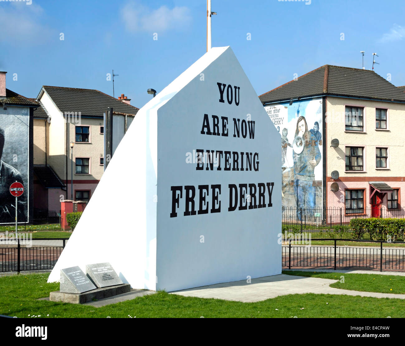 Free Derry Corner is a historical landmark in the Bogside neighborhood of Londonderry, County Derry, Northern Ireland, - Stock Image