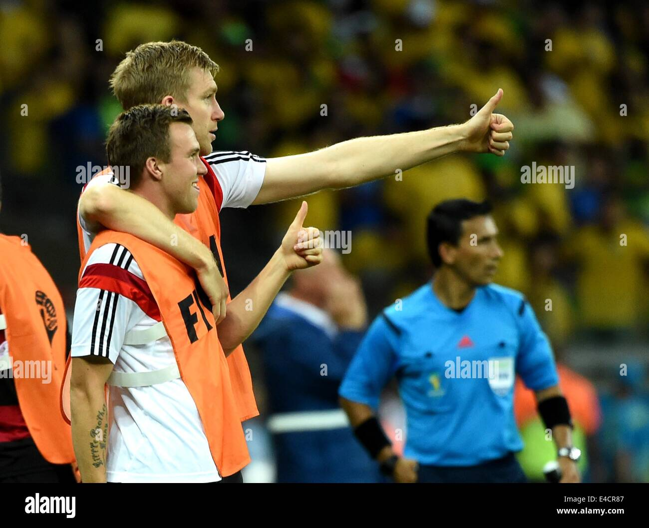 Belo Horizonte, Brazil. 8th July, 2014. Germany's substitutes make gestures during a semifinal match between - Stock Image