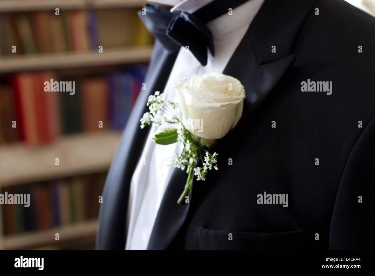 Wedding preparations, Tuxedo, bow tie, buttonhole, Dorset, England - Stock Image